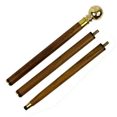 Brass Handle 3 Piece Walking Stick Cane With Hidden Compass And Flask