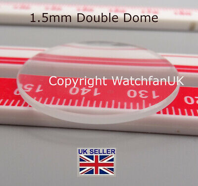 Watch Glass Mineral Crystal - Domed Round - 1.5 mm thick range 18mm to 50mm