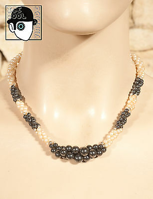 VINTAGE 80s HEMATITE & SYNTHETIC PEARL CHOKER - (Q)