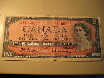 1954 Canadian Two Dollar Bill Note Bank Of Canada $2