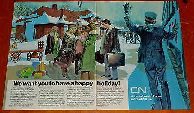 Cn 1973 Canadian National Christmas Holiday Ad - Vintage Train Station Winter