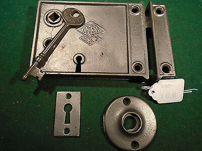 VINTAGE RUSSELL & ERWIN RIM LOCK w/KEY & KEEPER: CLEANED RECONDITIONED   (4162)