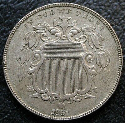 1867 Shield Nickel With No Rays AU Almost Uncirculated 5C Coin