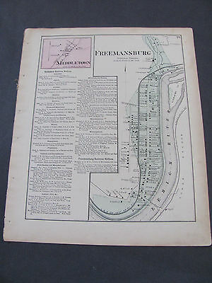 1874 Atlas Of Northampton County Pennsylvania Freemansburg Middletown D.G. Beers