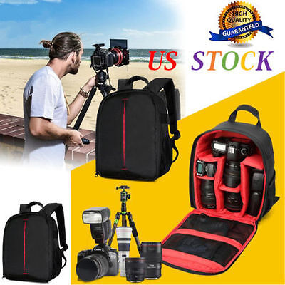 Shockproof Waterproof DSLR Backpack Camera Lens Case Bag For Canon Nikon Sony
