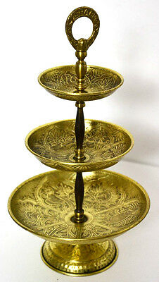 Vintage Israel Brass 3-tier Cake Tea Stand - FREE Shipping [PL3197]
