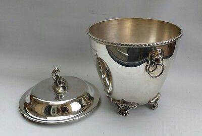 Vtg Antique Silver Plate Quality Ice Bucket Champagne/Wine Cooler & Lid Lions