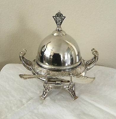 Antique Meriden Quadrupleplate Butter Caviar Dome Silverplate Victorian Server