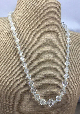 Vintage Art Deco Necklace Glass faceted graduated Crystal Bead Choker CN 312