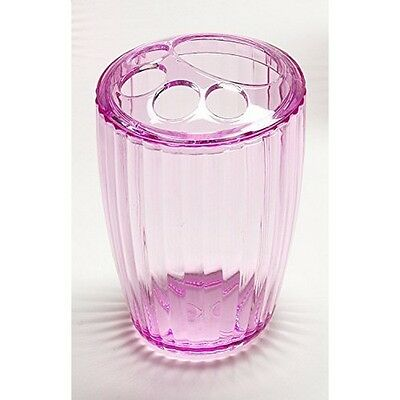 Carnation Home Fashions BA-APK/TB/18 Ribbed Acrylic Toothbrush Holder In Pink