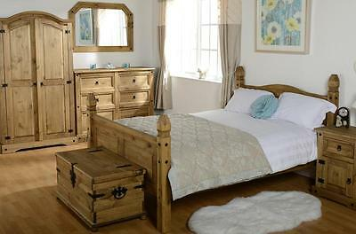 Bedroom Set Corona Wardrobe Drawer Chest Bed Single Double King Mexican Pine