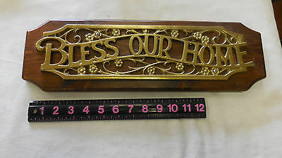 """Vtg BLESS OUR HOME House Brass Toned METAL on WOOD Plaque WALL Decor 17"""" x 5.25"""""""