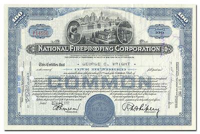 National Fireproofing Corporation Stock Certificate