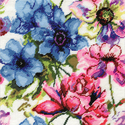 """Watercolor Floral Needlepoint Kit-12""""X12"""" Stitched In Acrylic Yarn"""