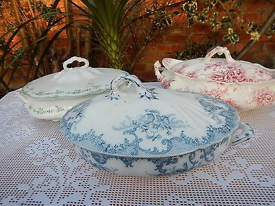 3 x Antique English pottery Tureens lidded