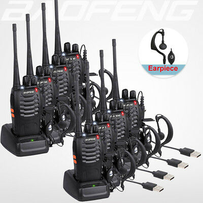 8x BaoFeng Walkie Talkie BF-888S UHF 400-470MHZ 2-Way Ham Radio 16CH + Earpiece