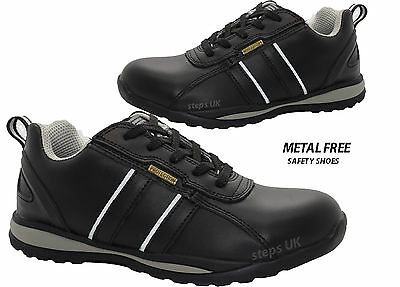 cfadbd131e6 Mens Womens Leather Metal Free Composite Toe Cap Safety Trainers Work Shoes  Size