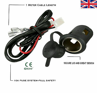 12V Waterproof Power Motorcycle Car Cigarette Lighter Socket + Cable Connector