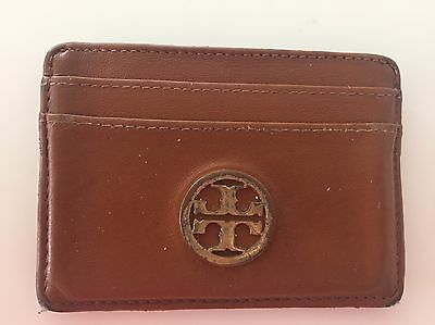 TORY BURCH authentic tan leather small wallet card case 4""