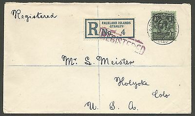 Falkland Is  1930 Regd  Cover To Colorado. Franked By 1/- Whale & Penguin