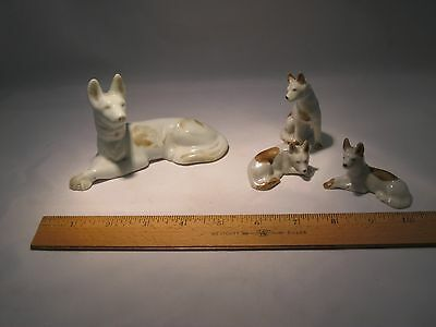Vintage German Shepherd Porcelain Figurines Japan