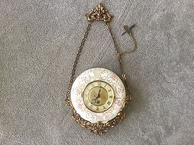 Antique French Porcelain Victorian Cartel Porcelain Wall Clock 8 Day
