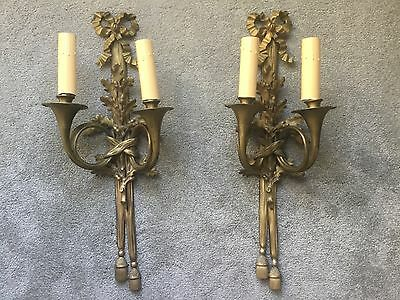 Antique Vintage French Empire Hunt Horn Pair Bronze Brass Wall Sconces Sconce