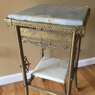 Exquisite Antique Brass French Pedestal Fern Stand Lamp Table Onyx Ornate
