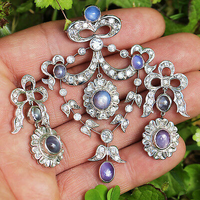 Vintage Star Sapphire Pendant Earring Set with Diamonds in Platinum 12.75ctw