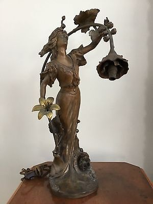 Antique Art Nouveau French Figural Patinated Bronze Spelter Newel Post Lamp