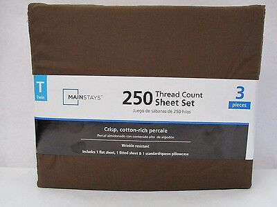 Mainstays 250 Thread Count Sheet Set- Costa Brown, Twin