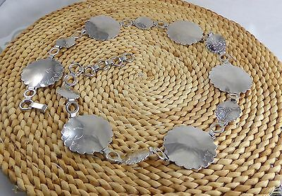 Vintage Silver Tone Metal Embossed Chain Belt w/Large & Small Conchos