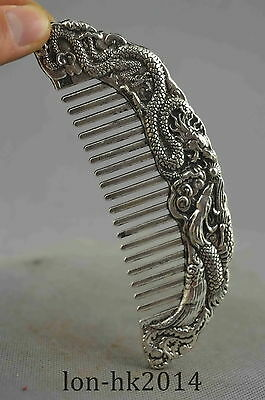 Collection Handwork Old Miao Silver Carve Roaring Dragon & Phoenix Exorcism Comb