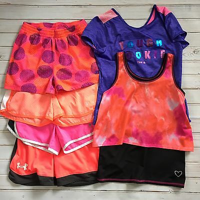Lot Under Armour Reebok Old Navy Girls Active Wear 10-12 Shorts Tops