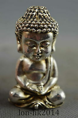 Collectible Handwork Old Miao Silver Carve Gracious Buddha  Pray Exorcism Statue