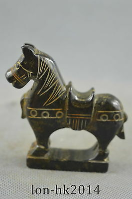 Collectible Handwork Old Jade Carve Vivid War Horse Moral Succeed Lucky Statue