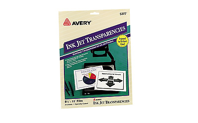 Avery 5277 Inkjet Transparencies, Pack of 20, NEW - Free Shipping