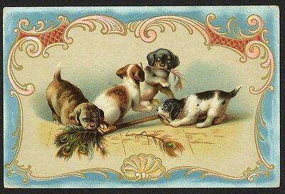 PUPPIES PLAYING Mocha Blend COFFEE TRADE CARD 1880's Dayton Ohio DOGS