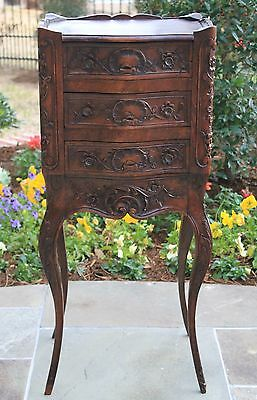 Antique French Carved Walnut Rococo 3-Drawer Chest End Table Nightstand Petite