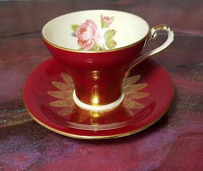 Aynsley Maroon/Red Gold Lace Corset Cup & Saucer Set England #1712