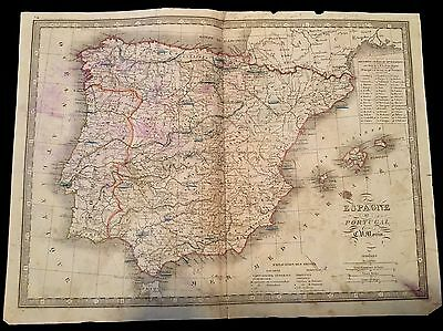 OLD MAP OF SPAIN AND PORTUGAL 1800s