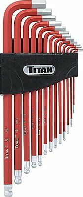 Titan Tools 12713 Extra-Long Arm Ball Tip SAE Hex Key Set, 13 Piece