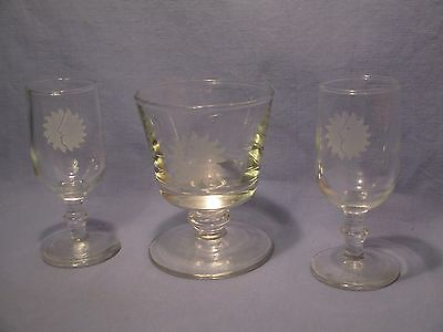 Lot of 3 National Airlines SunKing  Logo Barware Glasses /    FR 154
