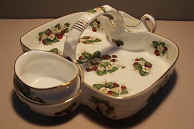 English Hammersley 3 Piece Berry Set Bone China Strawberry Ripe Pattern