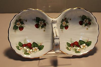 English Hammersley Bone China Strawberry Ripe Pattern Condiment Dish