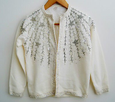 vintage White silver Beaded Cardigan Sweater 36 S M wool angora cashmere