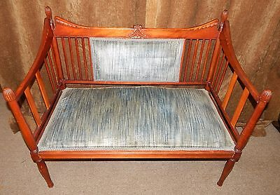 1920's American Mahogany Wood Upholstered Twin Seat Vintage Settee Bench