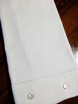 Antique Metis Linen Pillowcase Sham 4 button Close Hemstitched 18.5x31