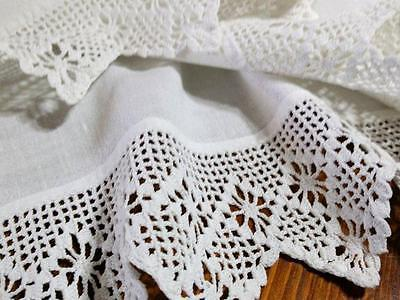 "Antique Cotton Pillowcase Lovely Geometric Scallop Crocheted Lace 22"" x 40"""
