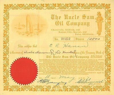 The Uncle Sam Oil Company   1917 Arizona old stock certificate share